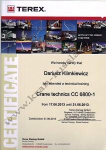 Сертификат на право выполнения ремонта крана CC 6800